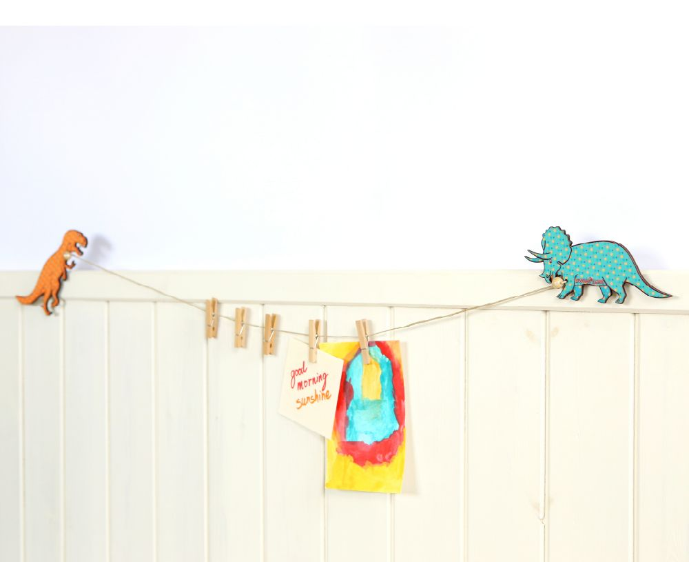 T-rex and Triceratops art display hanger