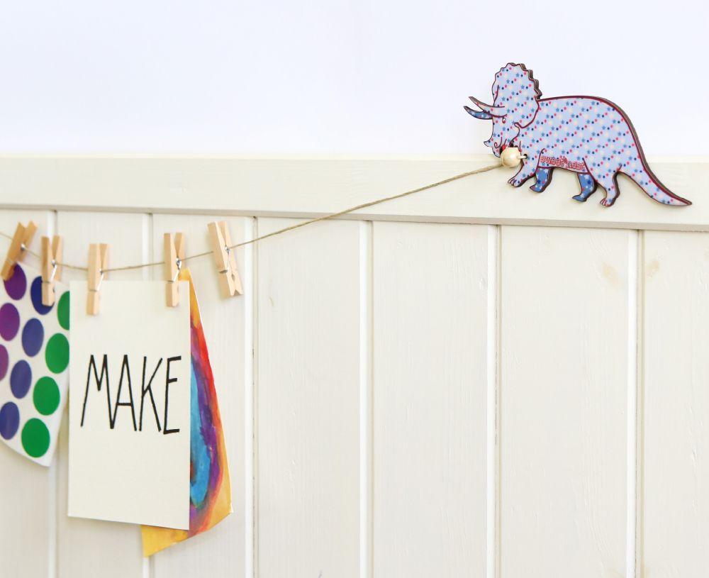 Dinosaur drawings display hanger