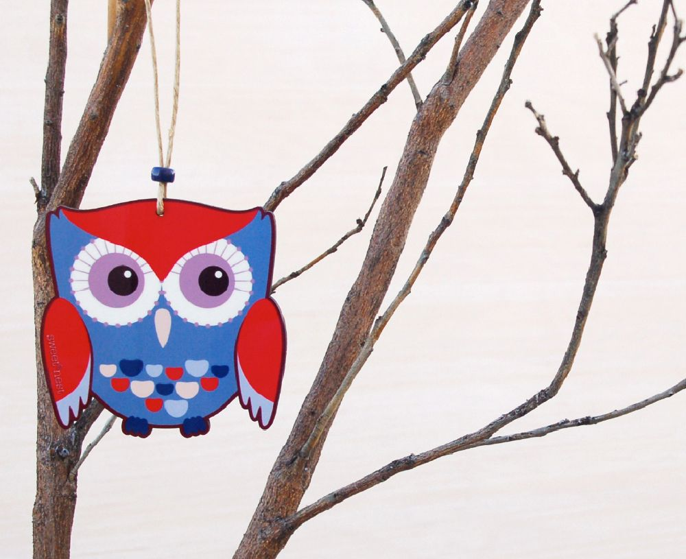 Blue owl ornament