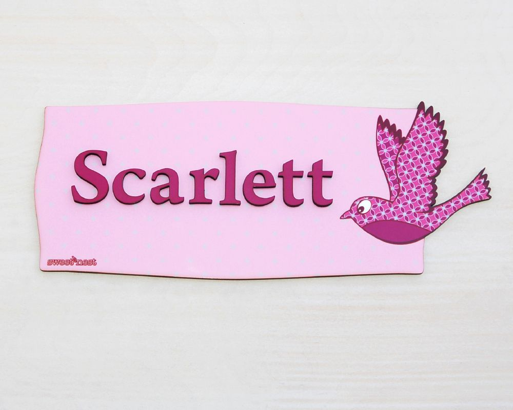 Baby Girl Nursery Door Sign, Personalized Name plaque