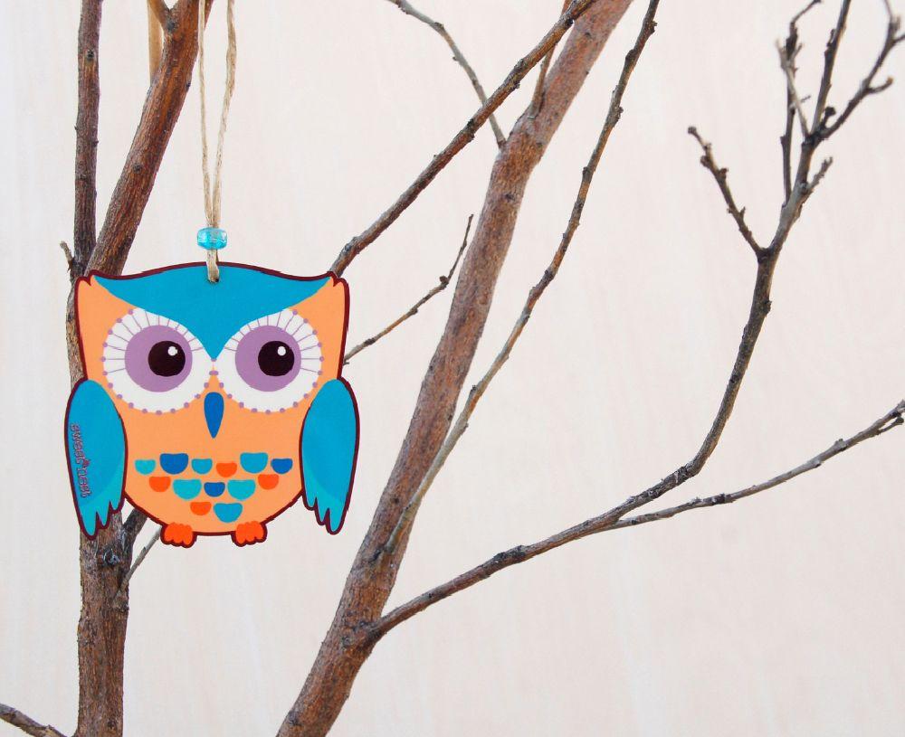 Vivid owl ornament